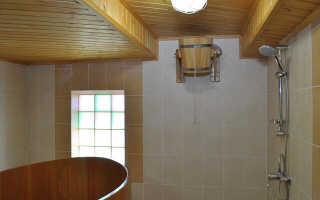 Отделка плиткой моечной в бане