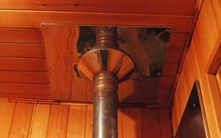 Потолочный проходной узел для дымохода