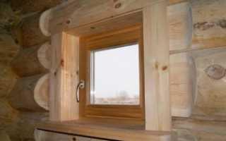 Деревянные окна со стеклопакетом для бани